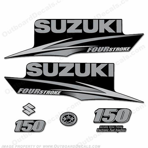 Suzuki 150hp Four Stroke Decal Kit (Silver/Grey) - 2010+