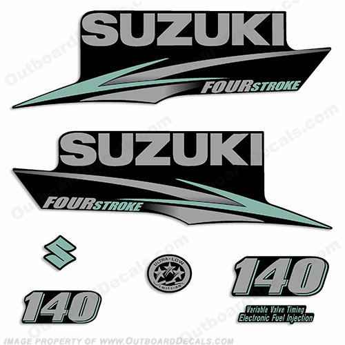 2010+ Suzuki 140hp FourStroke Decals - Silver/Sea Foam