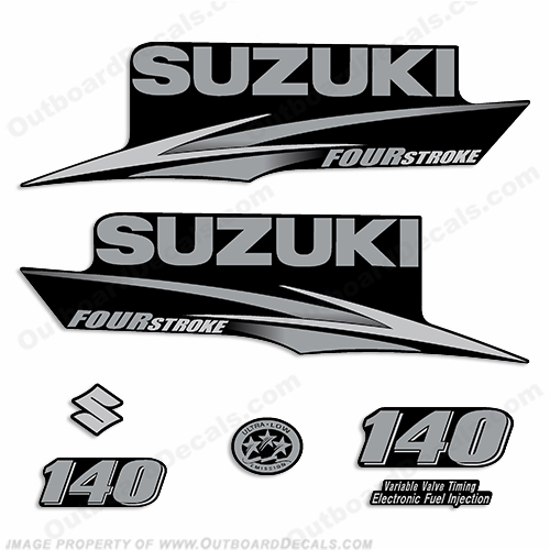 Suzuki 140hp decal kit custom silver grey for Custom outboard motor decals