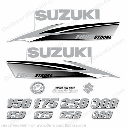 Suzuki df fourstroke decals custom silver 2010 2013