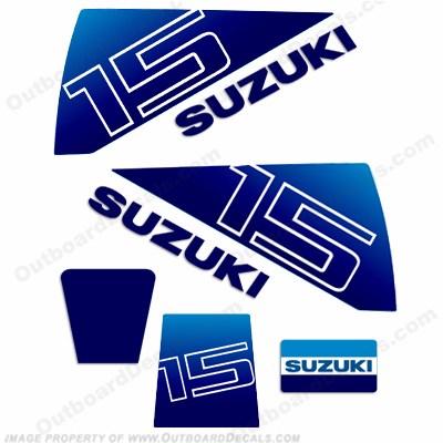 Suzuki 15hp Decal Kit - 1980&#39s