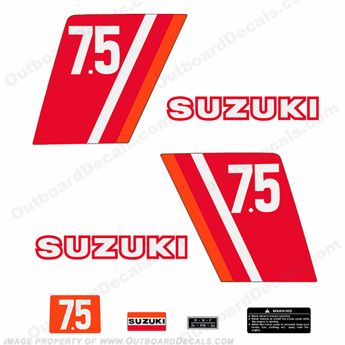 Suzuki 7.5hp Decal Kit - 1970s
