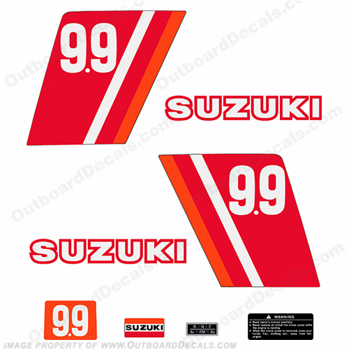 Suzuki 9.9hp Decal Kit - 1970s