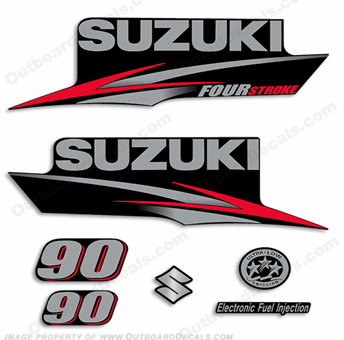 Suzuki 90hp DF90 Decal Kit - 2010+