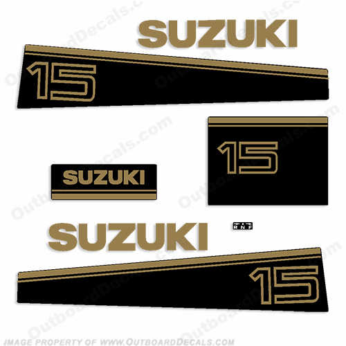 Suzuki 15hp Decal Kit - Older Style