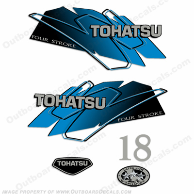 Tohatsu 18hp Outboard Engine Decals - Blue