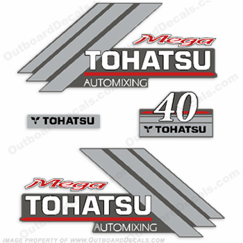 Tohatsu 40 Mega Outboard Engine Decals