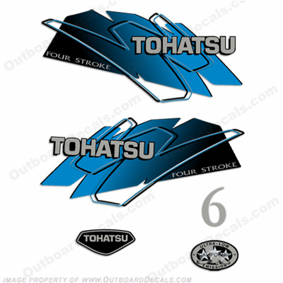 Tohatsu 6hp Outboard Engine Decals - Blue
