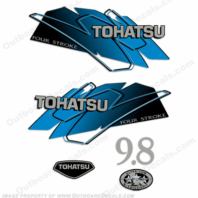 Tohatsu 9.8 Outboard Engine Decals - Blue