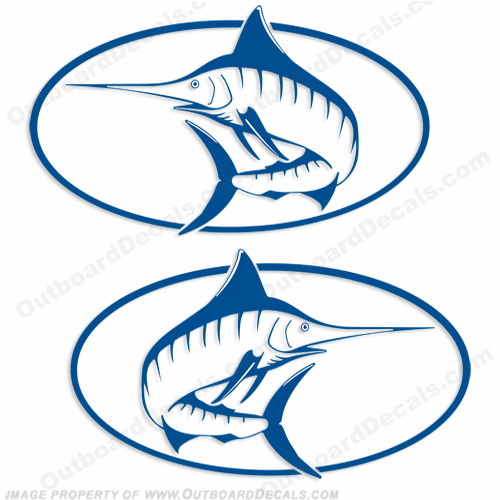 "Trophy Boat ""Marlin"" Logo Decals - Set of 2 (Any Color!)"