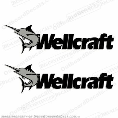Wellcraft Boat Decals (Set of 2) - Silver/Black - Style B
