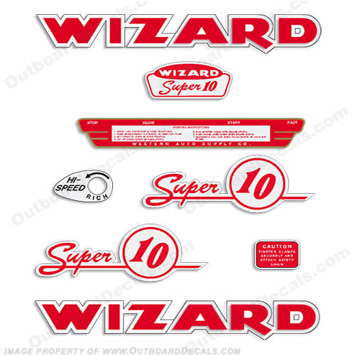 Wizard 10hp (WJ-7) Outboard Decal Kit - 1954