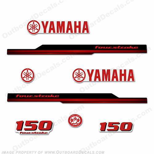 Yamaha 150hp Fourstroke Decals - 2008 - 2010 (Red)