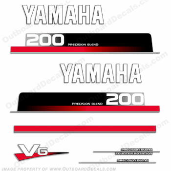 Yamaha 200hp Decal Kit - Mid 1990&#39s