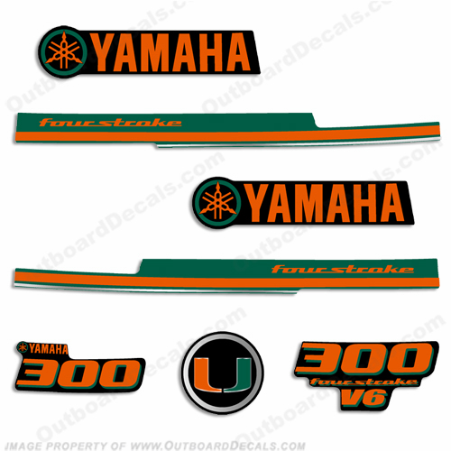 Yamaha 2013 Style 300hp Decals - Miami Hurricanes
