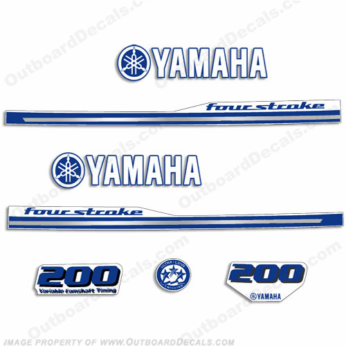 Yamaha 2013 Style 200hp Decals - White/Blue