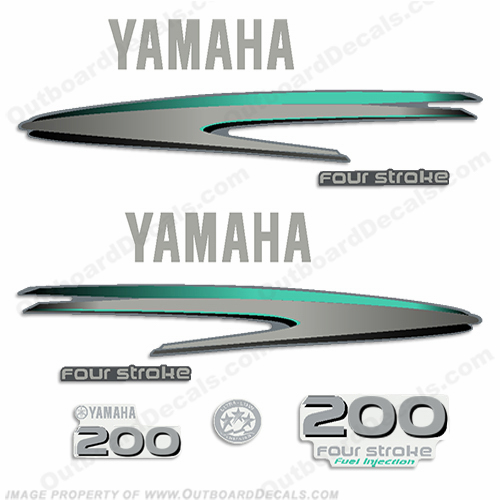 Custom Yamaha 200hp 4-Stroke Decals - Aqua