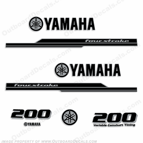 Yamaha 200hp FourStroke Decal Kit (Black/Silver) - 2013+