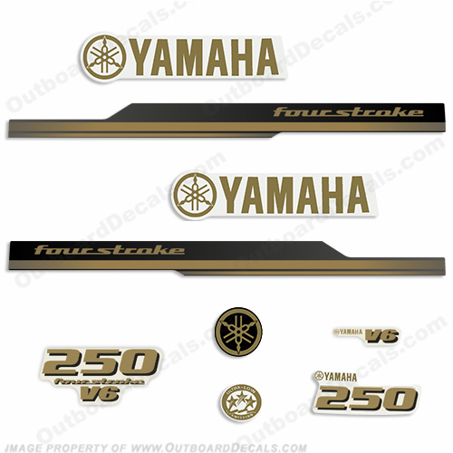 Yamaha 2010 Style 250hp Decals - Gold