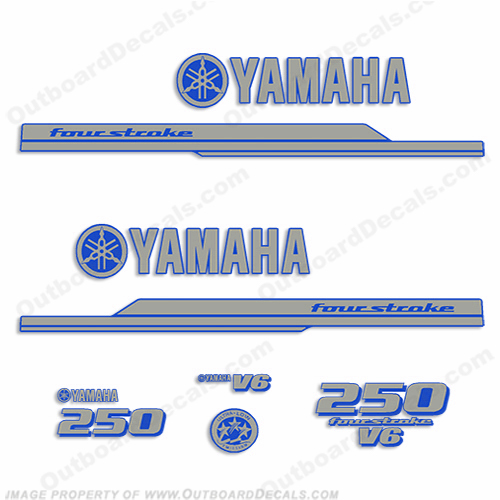 Yamaha 2010+ Style 250hp Decals - Silver/Blue