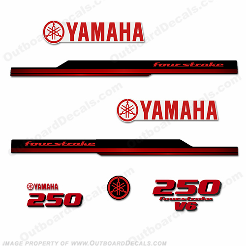 Yamaha 250hp Fourstroke Decals - 2008 - 2010 (Red)