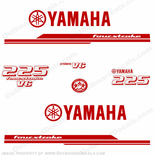 Yamaha 225hp Decal Kit 2010+ (1-Color) REVERSE