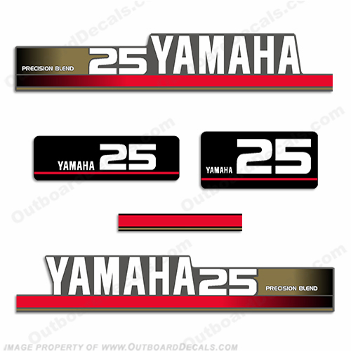 Yamaha 1995 25hp Decal Kit (Gold)