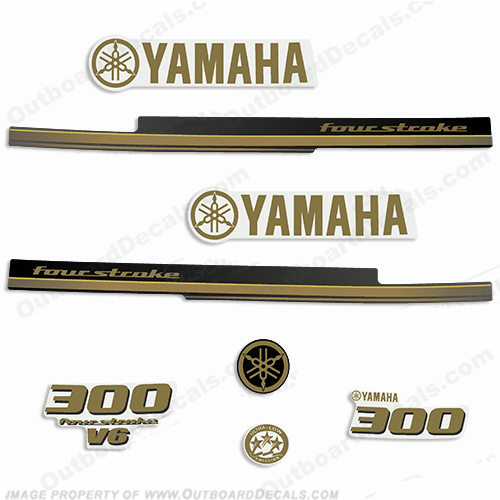 Yamaha 2010+ 300hp FourStroke Decals - Gold