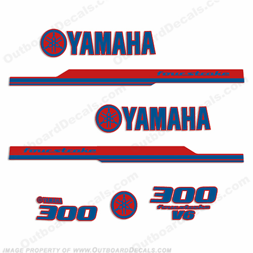 Yamaha 2010 Style 300hp Decals - Blue/Red