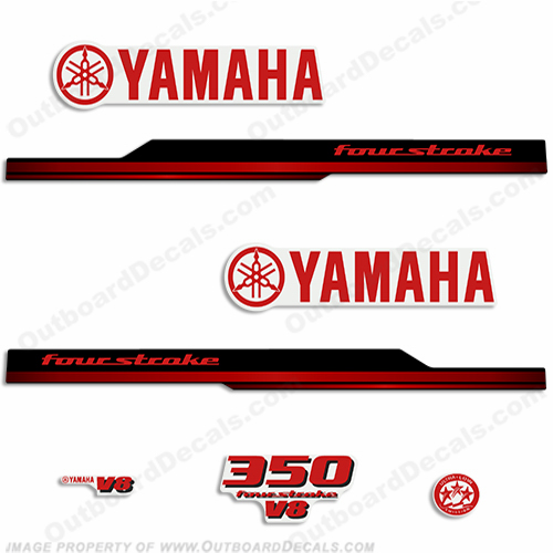 Yamaha 350hp v6 Decals - Red (2008 - 2010)