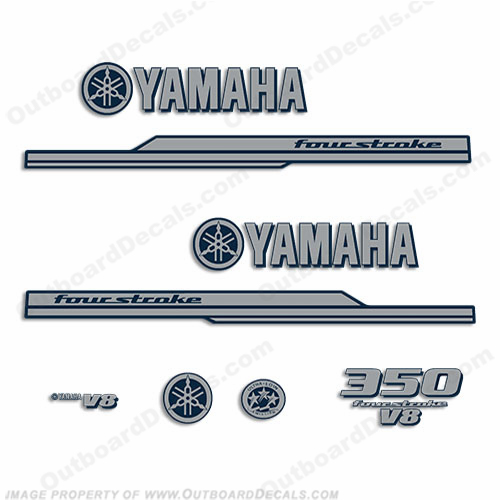 Yamaha 2010 Style 350hp Decals - Silver/Navy Blue