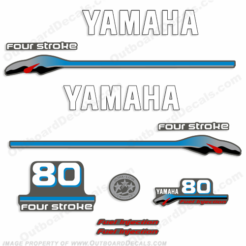 Yamaha 80hp 4-Stroke Fuel Injected Decals 1999 - 2000