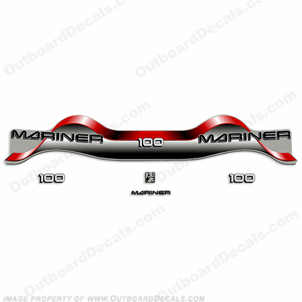 Mariner 100hp Decal Kit - Red
