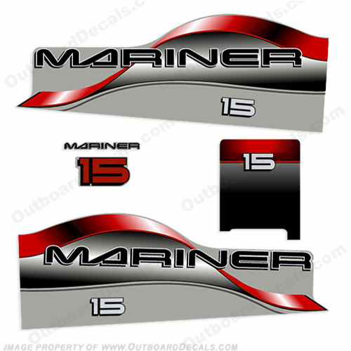Mariner 15hp Decal Kit - Red