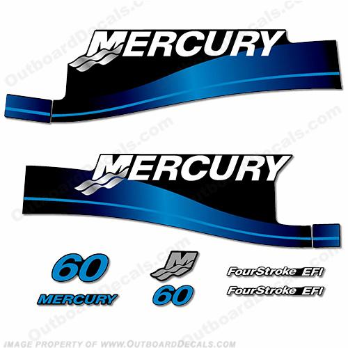 Mercury 2017 outboard decals 2 stroke 60hp blue set