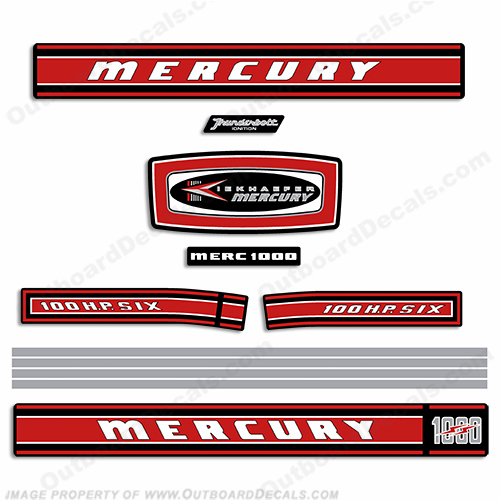 Mercury 1968 100HP Outboard Engine Decals
