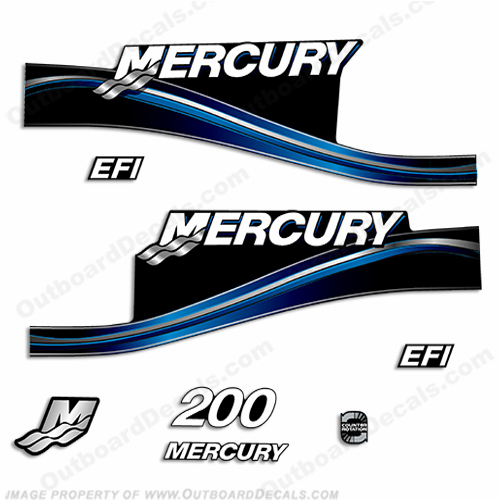 Mercury 200hp EFI Decal Kit -  2005 Style (Blue)