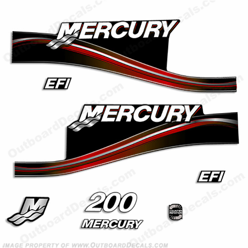 Mercury 200hp EFI Decal Kit -  2005 Style (Red)