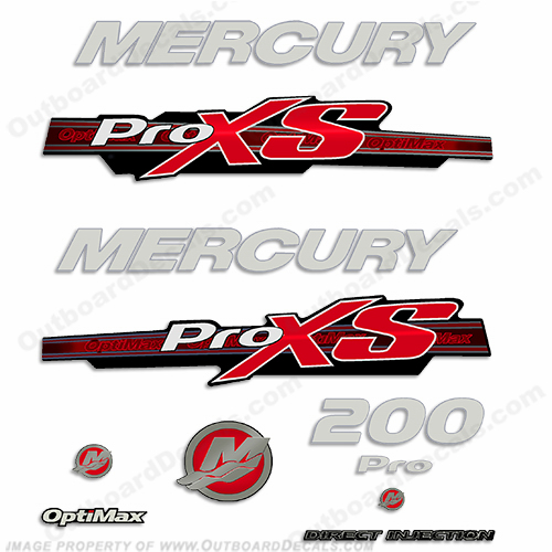 Mercury 200hp ProXS 2013+ Style Decals - Red/Silver pro xs, optimax proxs, optimax pro xs, optimax pro-xs, pro-xs, 200 hp