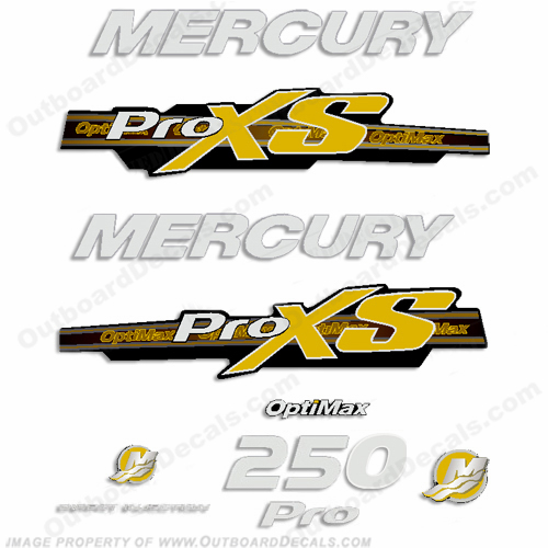 Mercury 250hp ProXS 2013+ Style Decals - Yellow/Silver pro xs, optimax proxs, optimax pro xs, optimax pro-xs, pro-xs, 250 hp