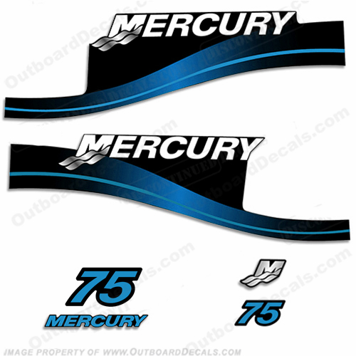 Mercury 75hp Two Stroke Decal Kit (Blue)