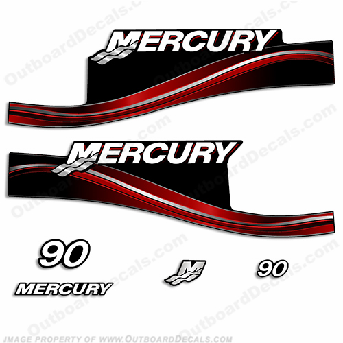 Mercury 90hp ELPTO / EXLPTO Decal Kit - 2005 (Red) exlpto, 90 hp, 90