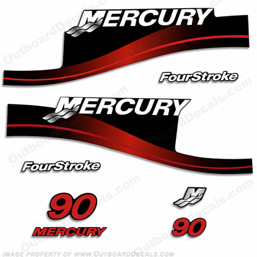 Mercury 90hp 4-Stroke Decal Kit 1999-2004 (Red)