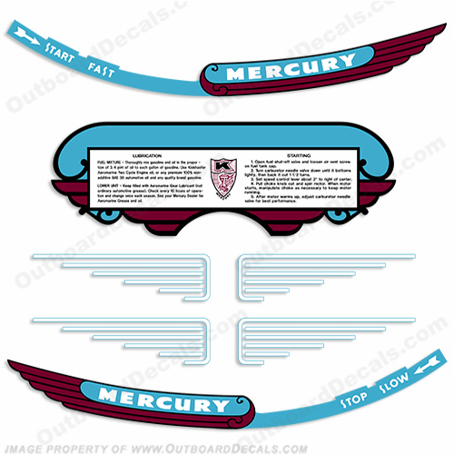 Mercury 1946 KD-4 Outboard Engine Decals