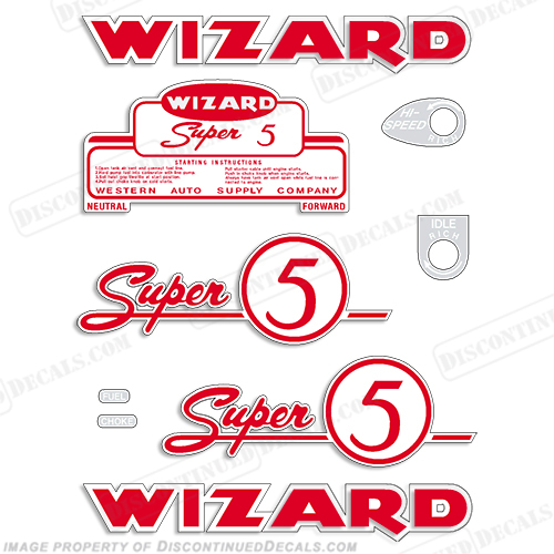 Wizard 5hp Decal Kit - 1955-1956