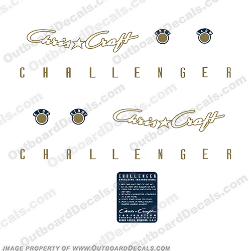 Chris Craft Challenger Vintage Antique Outboard Motor Decals