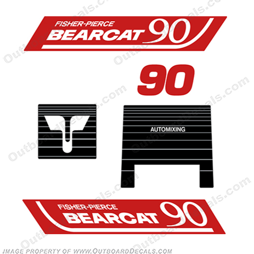 Fisher Pierce Bearcat 90 fisher, pierce, bearcat, 90, hp, bear, cat, outboard, motor, engine, decal, sticker
