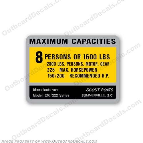 Scout Bay 210/222 Decal - 8 Person Capacity Decal