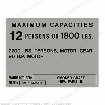 Smoker Craft Capacity Decal - 12 Person