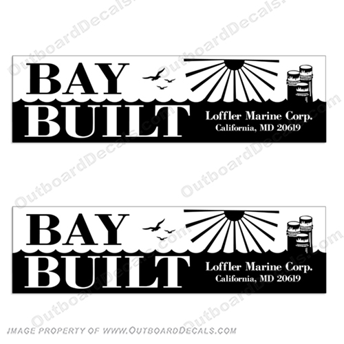 Bay Built Skiff by Loffler Marine Corp Boat Logo Decals (Set of 2)  Bay, built, baybuilt, Boat, Logo, Decal, lofler, marine